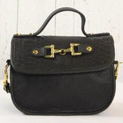 Mini Saddle Bag - All Black Embossed Leather with Gold