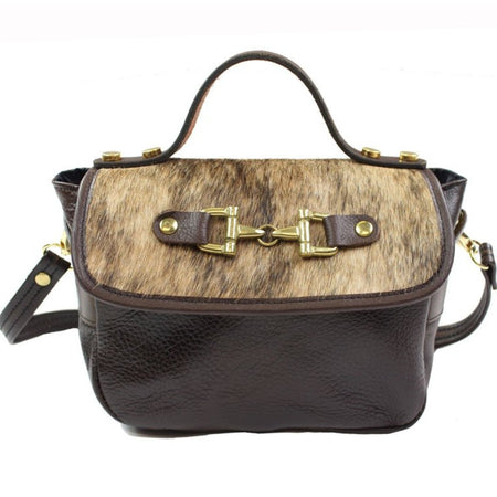 Mini Saddle Bag - Brown With Cowhide