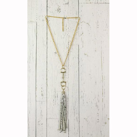 Diamond Back News Paper Print Fringe Gold Necklace