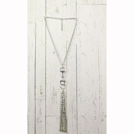 Diamond Back News Paper Print Fringe Silver Necklace