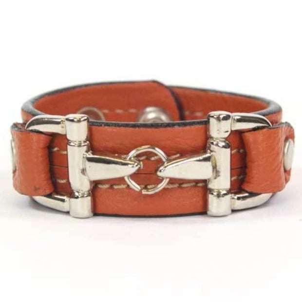 Orange Leather Bracelet- Silver