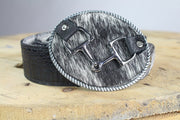 Rope Oval Belt Buckle with Horse bit -Reversible Belts, Black and White Cow Hide to Black Leather