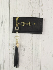 Belt-Crossbody-Phone Pouch - All Black Leather with gold horse bit