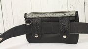 Belt-Crossbody-Phone Pouch - All Black Leather with silver horsebit