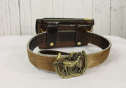 Belt-Crossbody-Phone Pouch -Crackled with Alligator Flap