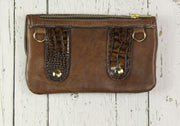 Belt-Crossbody-Phone Pouch - Brown Croc Embossed- Gold
