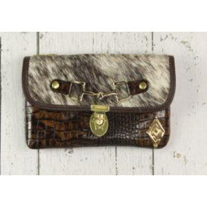 Belt Crossbody- Phone Pouch - Brown Croc Embossed White Brown Cowhide- Gold