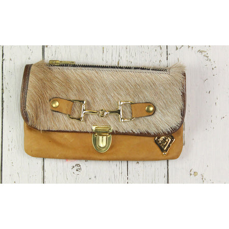 Belt Crossbody- Phone Pouch -Tan and brown Cowhide- Gold
