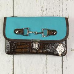Belt Crossbody- Phone Pouch - Turquoise/Brown Croc Embossed- Silver