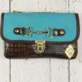 Belt Crossbody- Phone Pouch - Turquoise/Brown Croc Embossed-Gold