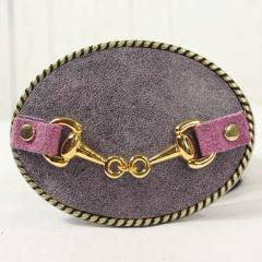 Purple belt buckle- small gold horse bit