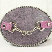 Purple belt buckle- small sliver horse bit