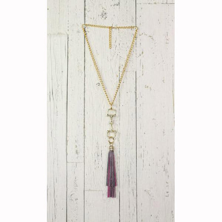Diamond Back Purple Fringe Gold Necklace
