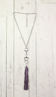 Diamond Back Purple Fringe Silver Necklace