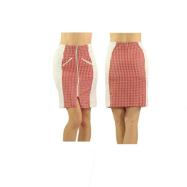 Women's Red Check Standard Golf Skirt