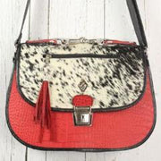 Saddle Bag - Red and Black with cowhide flap