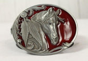 Red Horse belt buckle- silver