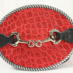 Red embossed belt buckle- small sliver horse bit