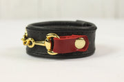 Black Leather Bracelet (Small Horsebit/Red Tabs)