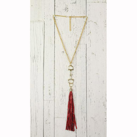 Diamond Back Snake Skin Print Fringe Gold Necklace