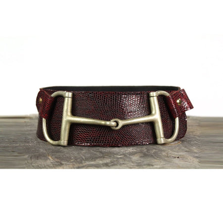 "3"" Wide Leather Belt - Red Snake Skin"