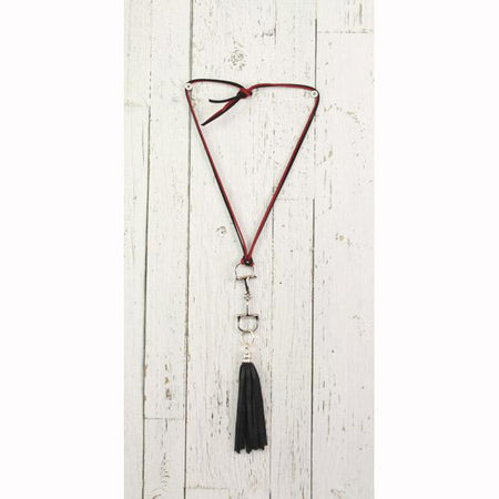 Diamond Back Black Fringe Red and Black Rope Necklace