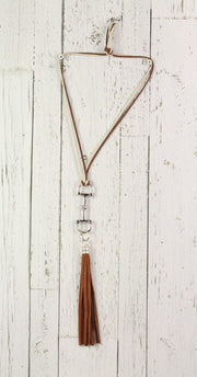 Diamond Back Dark Brown Fringe Brown and Cream Rope Necklace