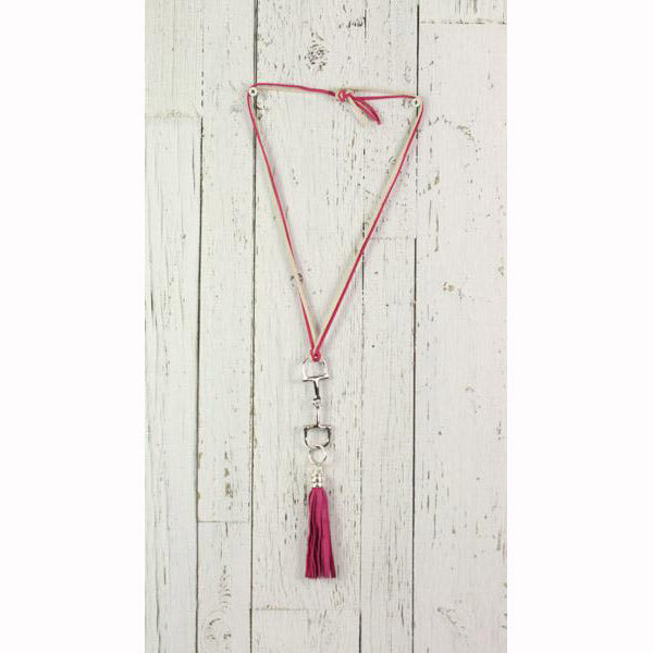 Diamond Back Pink Fringe Pink and Cream Rope Necklace