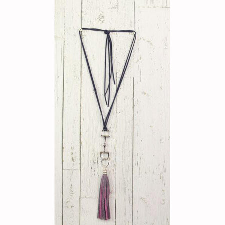 Diamond Back Purple Fringe Black Rope Necklace