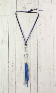 Diamond Back Blue Fringe Blue Rope Necklace