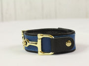 Royal Blue Leather Bracelet- Gold