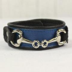 Royal Blue Leather Bracelet (Small Horsebit)-Silver