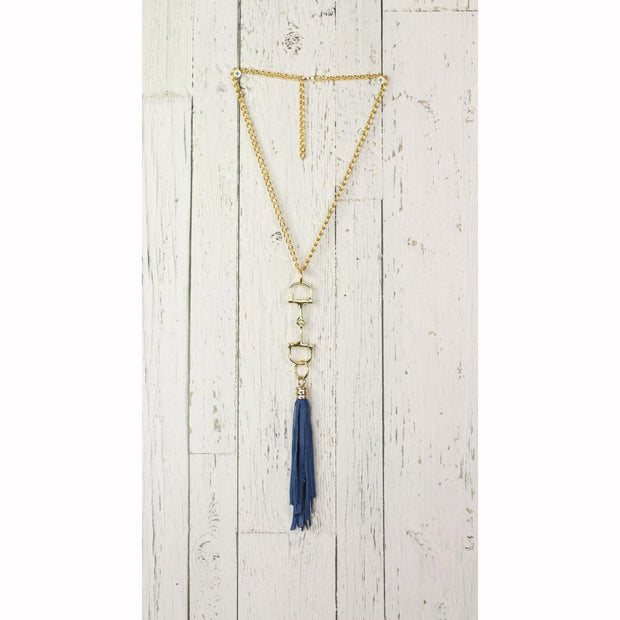 Diamond Back Blue Fringe Gold Necklace
