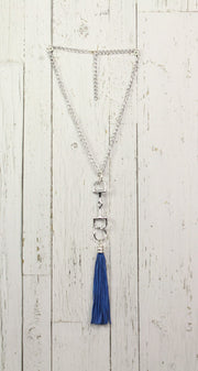 Diamond Back Blue Fringe Silver Necklace