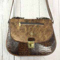 Saddle Bag - Brown Embossed