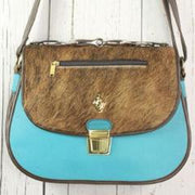 Saddle Bag - Turquoise with Cowhide Flap