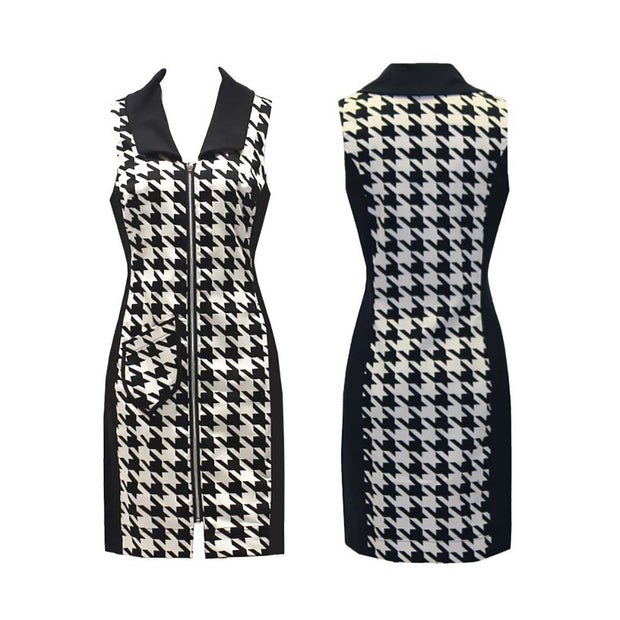 Women's Houndstooth Sleeveless Dress