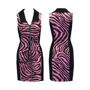 Women's Pink Zebra Sleeveless Dress