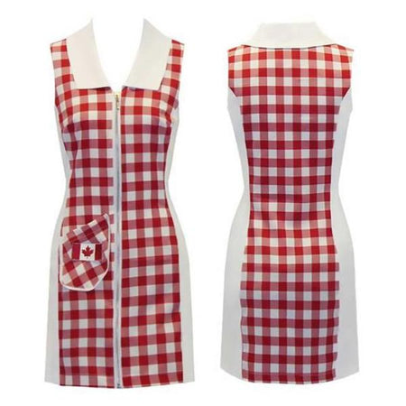 Women's Red Large Checkered Sleeveless Golf Dress