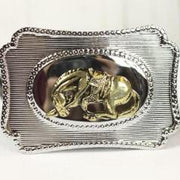 Gold Horse with Rose belt buckle