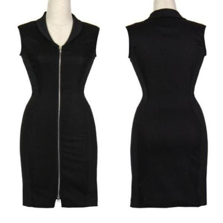Women's Black and Black Sleeveless Golf Dress