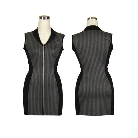 Women's Pinstripe and Black Sleeveless Golf Dress
