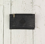 Belt-Crossbody-Phone Pouch - All Black Leather (Small)