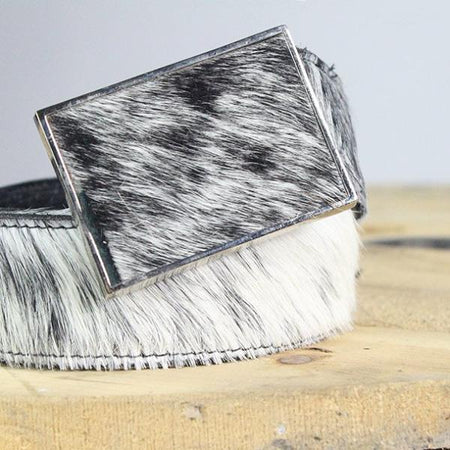Square Belt Buckle-Reversible Belts, Black/White Cow Hide to Black Leather