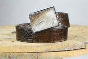 Square Belt Buckle-Reversible Belts, Brown Cow Hide to Brown Leather