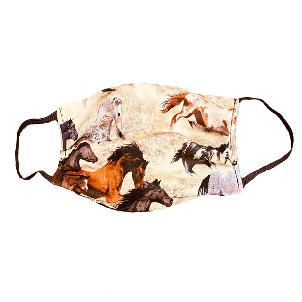 White and Brown Horse Print Face Mask
