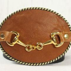 Tan belt buckle- small gold horse bit