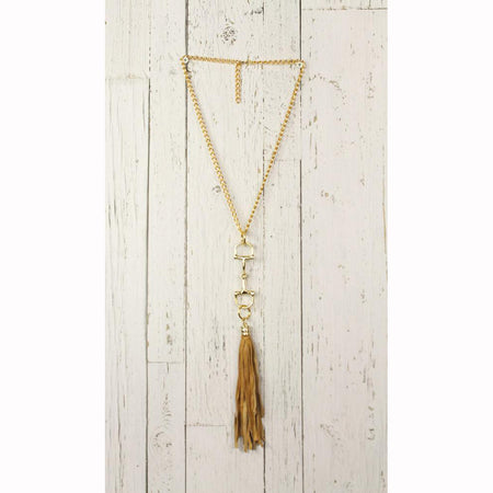 Diamond Back Tan Fringe Gold Necklace