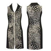 Women's Black White Leopard Sleeveless Dress