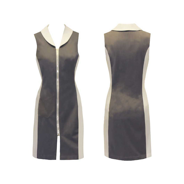 Women's Grey and White Sleeveless Golf Dress